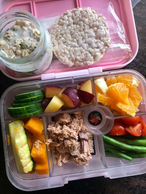 o/n oats, rice cakes, cucumber, orange, tomato, beans, tuna, zucchini + pumpkin -