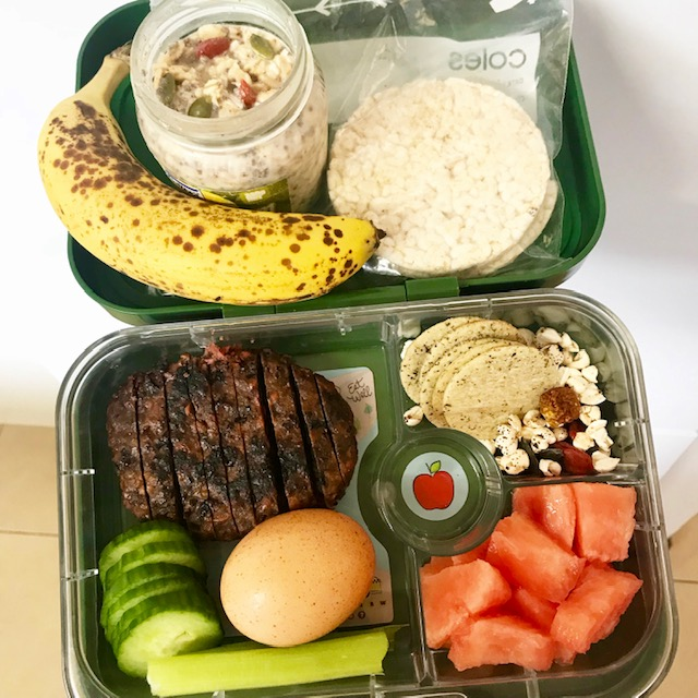 rice cakes, oats, banana, veggie pattie, cucumber,celery, an egg, watermelon, rice crackers, puffed buckwheat, inca berries, pumpkin seeds. -