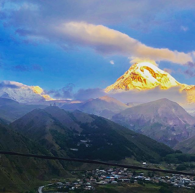 Talk about a room with a view! 7am shot of 16,655-foot Mount Kazbek in all her glory, from my balcony in Stepantsminda, Georgia (near the Russian border)