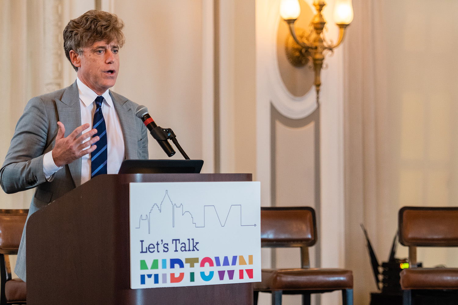 Tim Keane, City of Atlanta planning commissioner, speaks at a Let's Talk Midtown public forum event hosted by Midtown Alliance.