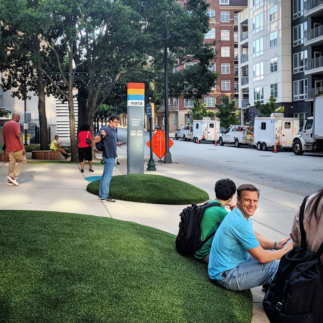 """The creative transformation of the exterior of the Midtown MARTA Station has had a great effect. Look at all the folks using the new seating as they wait for the Tech Trolley bus! Very cool."" – @  atlurbanist"