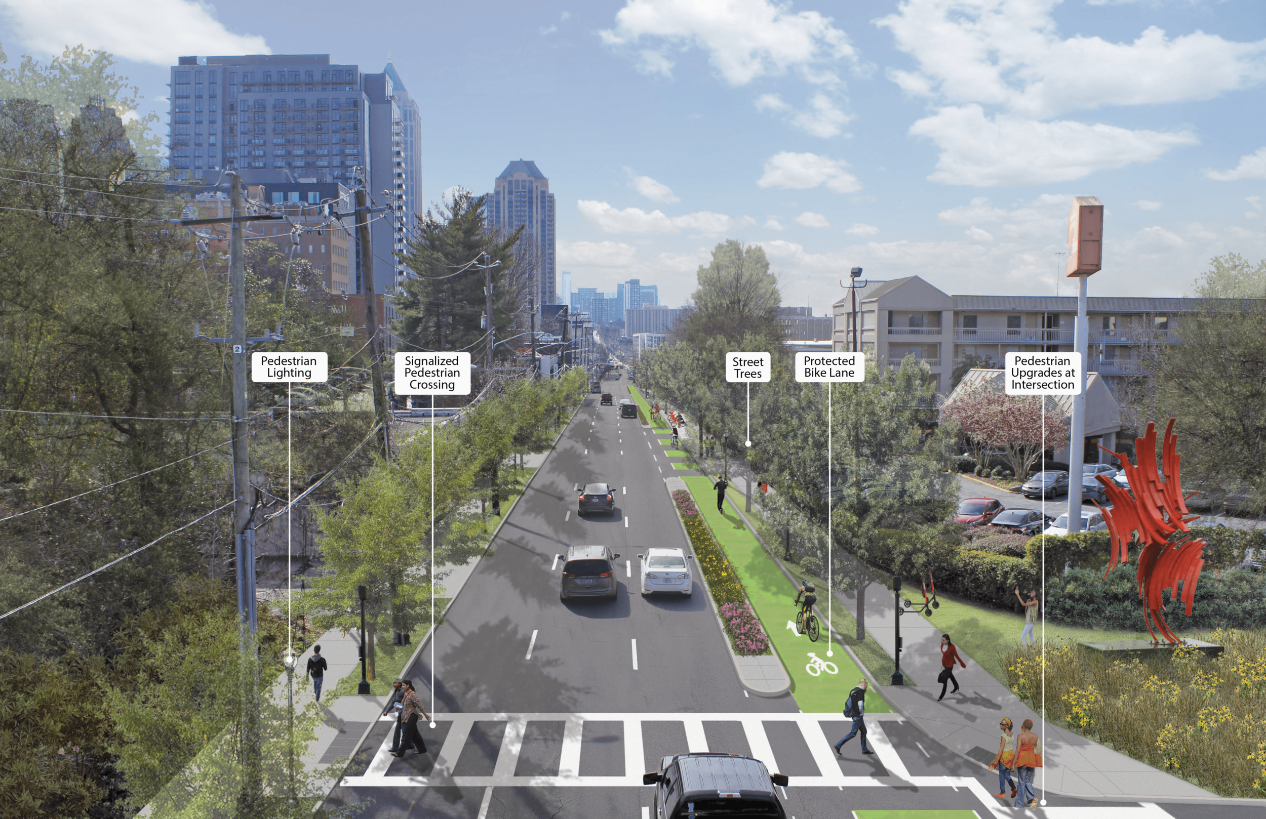 Rendering of Spring Street Complete Street Project concept.