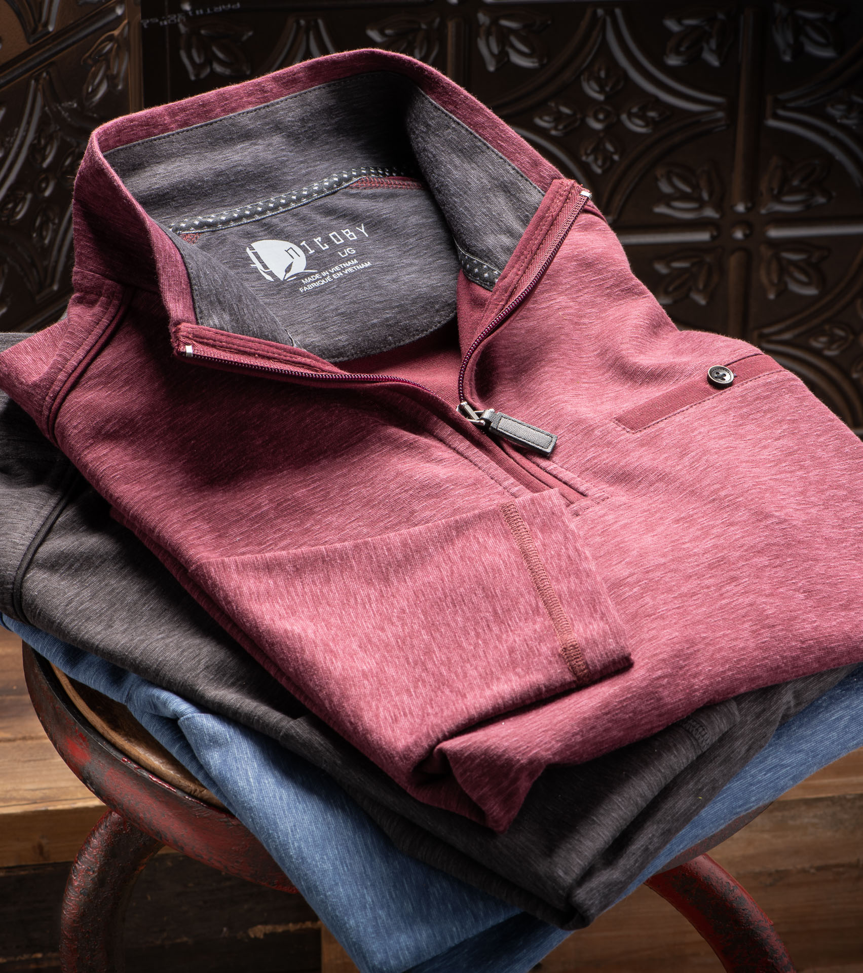 SPACE DYE QUARTER-ZIP WITH SUEDE TRIM