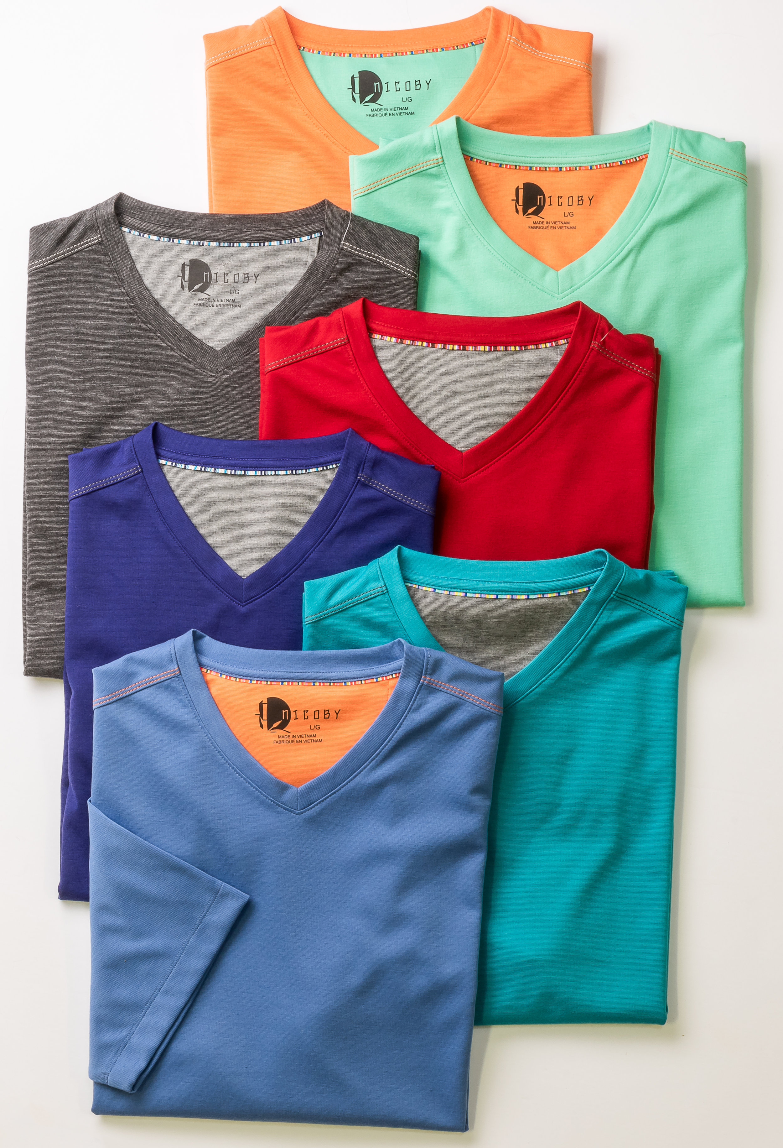 RAYON/POLY/SPANDEX PERFORMANCE V-NECK WITH DETAILED TAPING