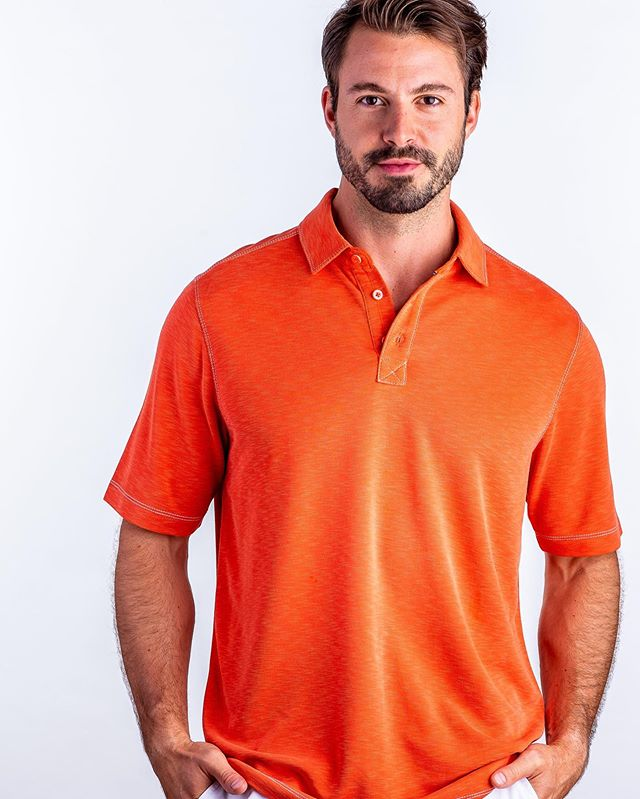 One shirt. Every occasion. ⠀ Each element of a Nicoby Modal Polo comes together to flatter your form, whether you need something for work or play, or looking to take your look from day to night. ⠀ 🛒 Shop our modal polos online in - Dk. Purple, Periwinkle, Tangelo, Lt. Turquoise, and Spicy Orange. 🆓 Shipping