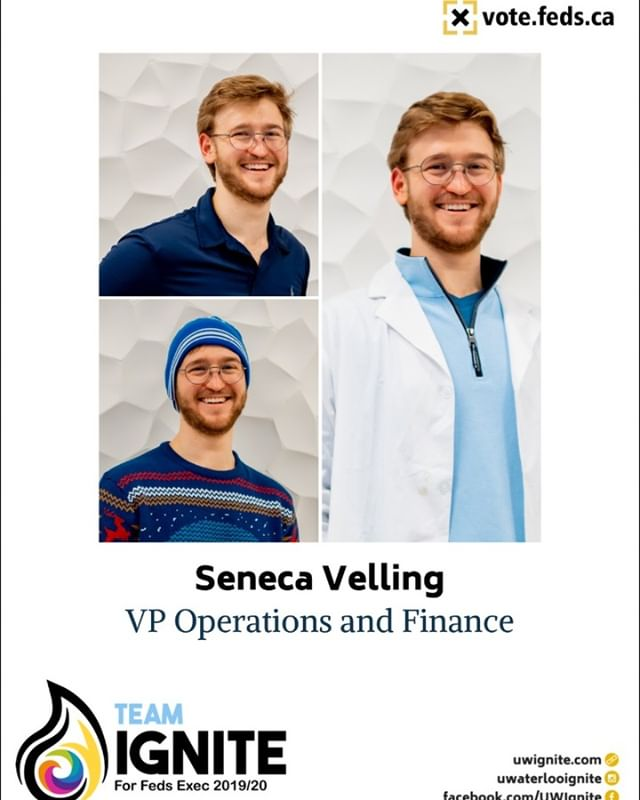 Introducing #TeamIgnite's VP Operations & Finance candidate, Seneca Velling! Seneca is a 4B Materials & Nanosciences student and a member of @fedsuw Budget & Appropriations Committee. He's served @fedsuw and @uwscisoc for multiple years! Elect your next VPOF @ vote.feds.ca! . . . #VoteIgnite🗳 #FedsElection #TeamIgnite🔥 #UWvotes