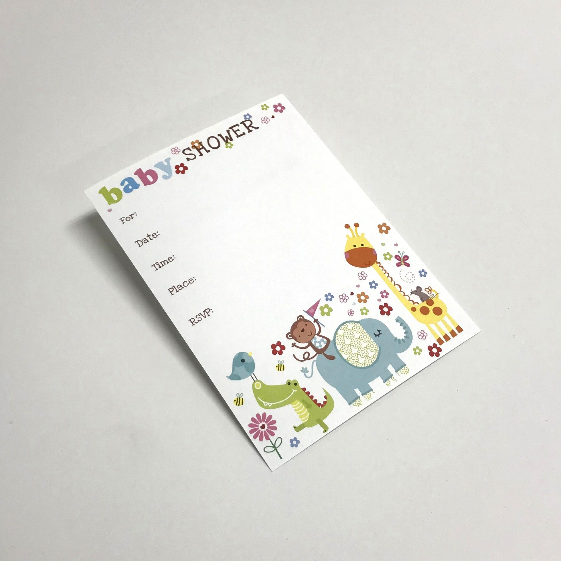 Colorful personal invitation for baby shower printed in Minnesota