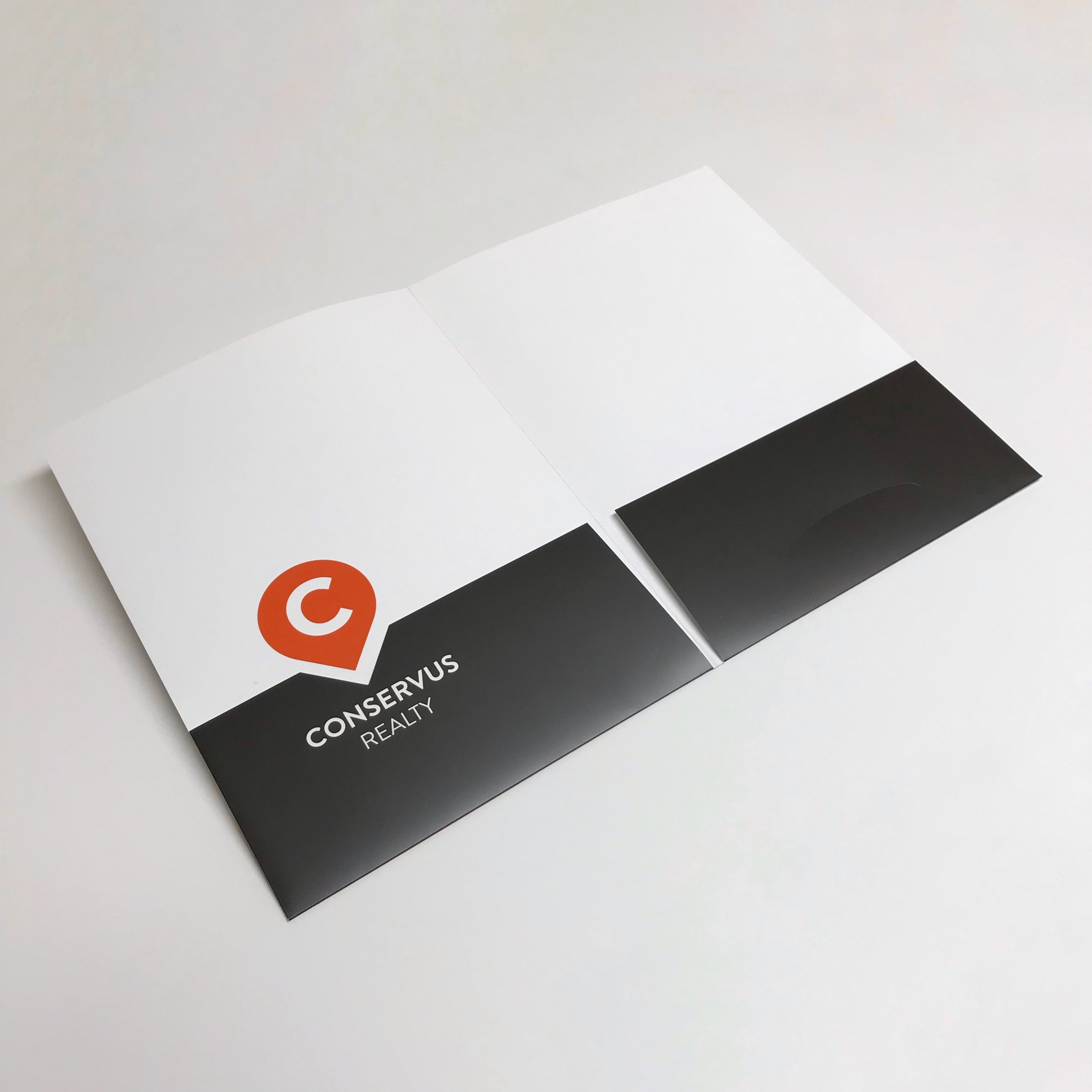Unique die cut pocket folder for corporate use printed in Minnesota