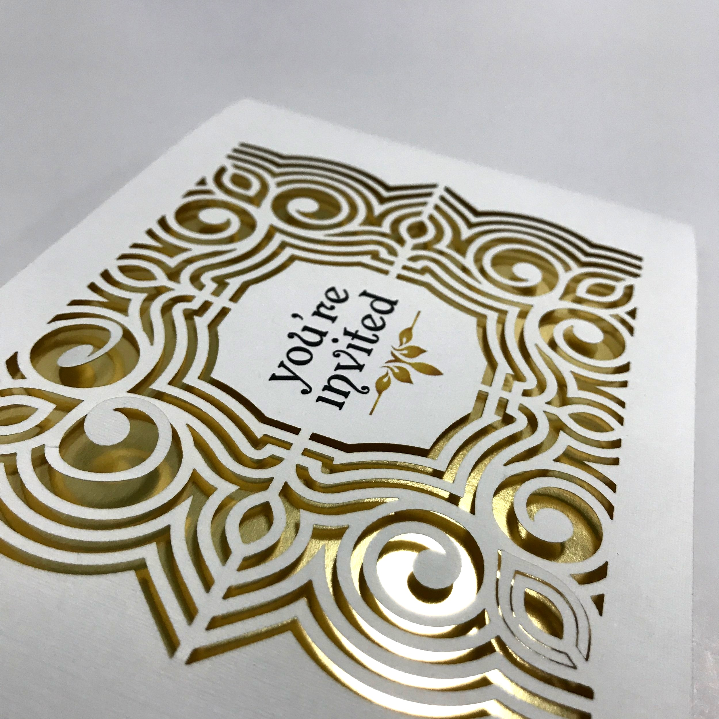 High quality die cutting with foil background printed in Minnesota