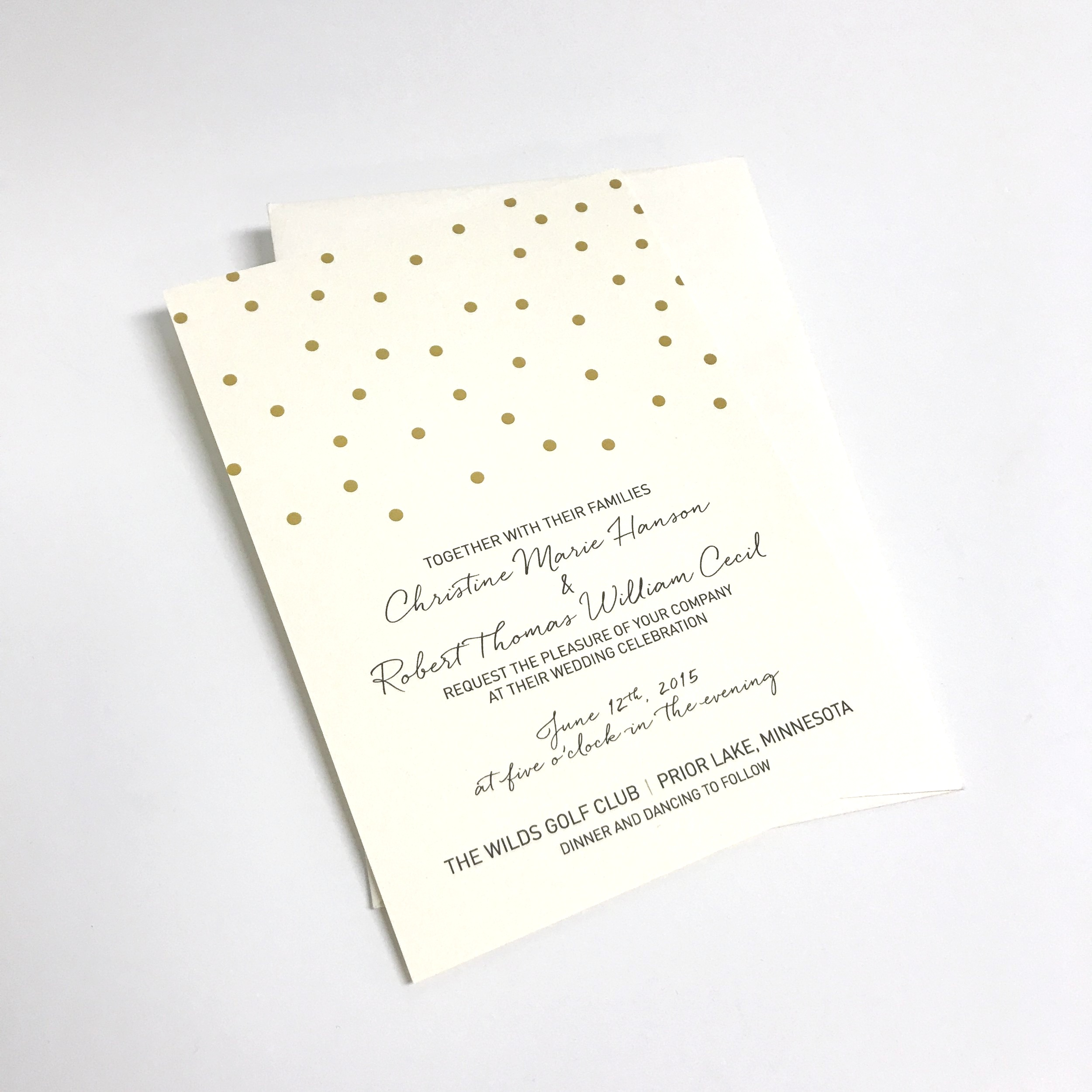 High quality wedding invitation with foil printed in Minnesota
