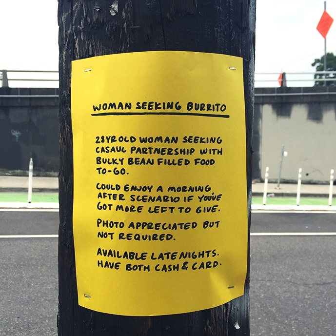 """""""Woman Seeking Burrito"""""""