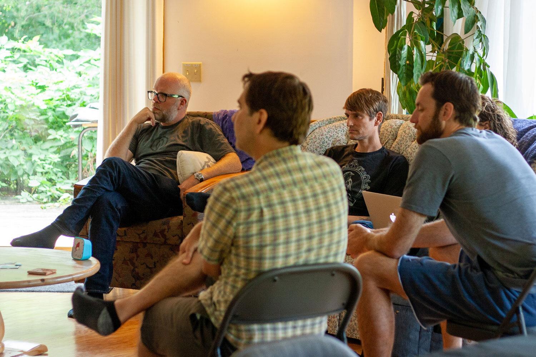 From left: Einar Vollset, David Heller (   Reimbi   ), Rob Walling (TinySeed), Andy Hawkes (   Loadster   ).