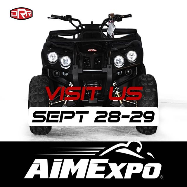 DRR USA will be at the @aimexpo September 28-29 stop by and check out a brand new product only available for viewing at the expo!  #aimexpo2019 #aimexpo #drrusa #newproduct #atvracing #atv #atvs #atvriding #tradeshow #visitus #neverseenbefore #hype #stealthelecticatv #drx50 #drx90 #600ut #450xc