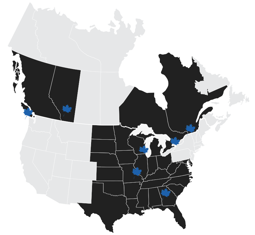 THE AREAS WE SERVICE - We service both Canada and the United States with Heart's Trusted Premier Partner program. We can deliver to the Midwest states, the southern states in the United States, as well as across Ontario, Quebec, British Columbia, and Alberta. We have Heart terminals in Toronto, Calgary, Vancouver, Montreal, Atlanta, Chicago, and St. Louis.