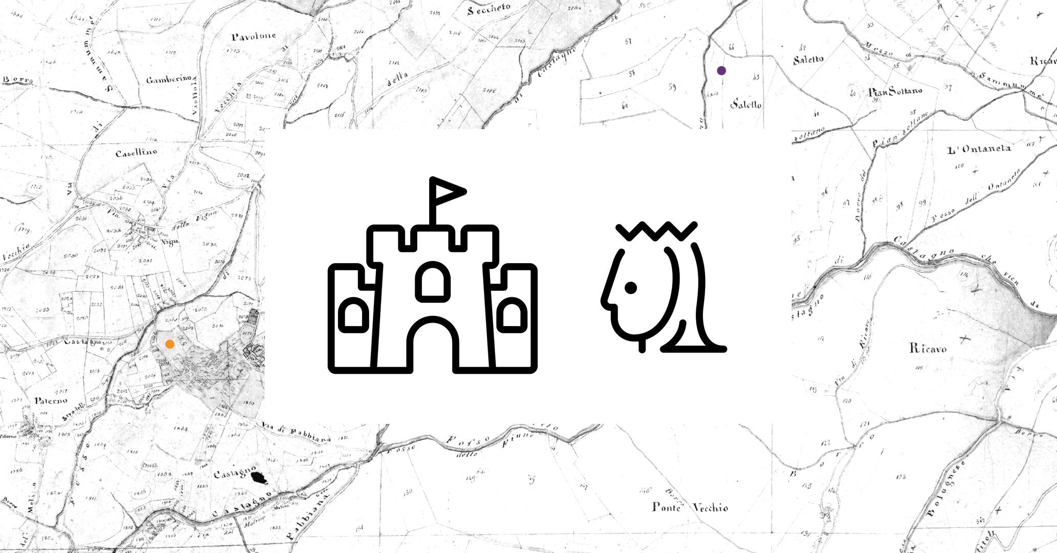 Una ricognizione della zona ha rivelato le tracce di un'antica costruzione, con un grande bastione a forma quadrangolare e la base di u torrione longobardo. Nel catasto granducale, la zona è segnata col nome di Saletto. Sulla mappa catastale del 1835, graficamente riportata qui sopra, è segnato a sinistra il paese di Castagno e poco più in alto, a destra, il Castello di Castagno (a circa due chilometri di distanza dal borgo, nella zona di Saletto).