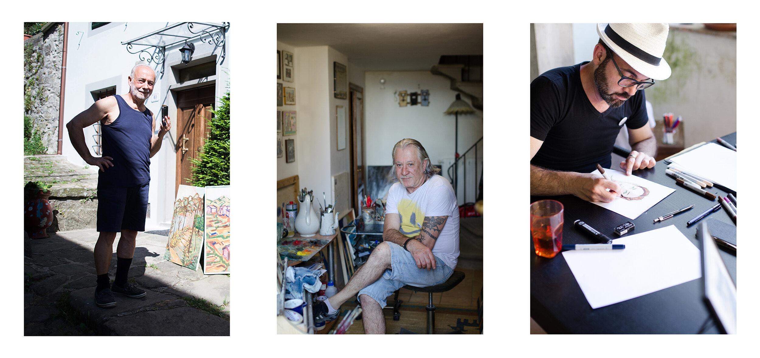 """Luciano Gelli, Pieralberto Luzzana, Riccardo Innocenti: i tre artisti abitanti della """"Rive Gauche"""" - Castagno di Piteccio, Borgo Museo Festival 2019"""