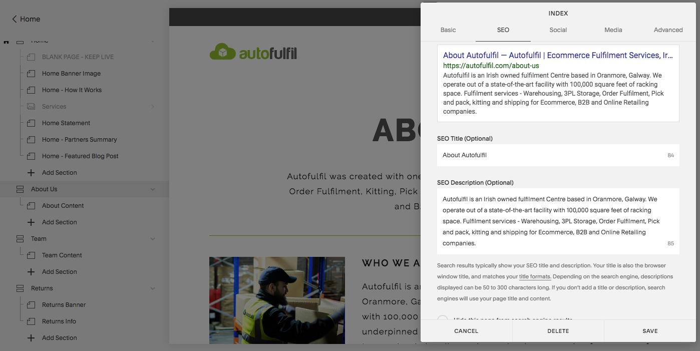 Autofulfil Order Fulfilment - SquareSpace SEO