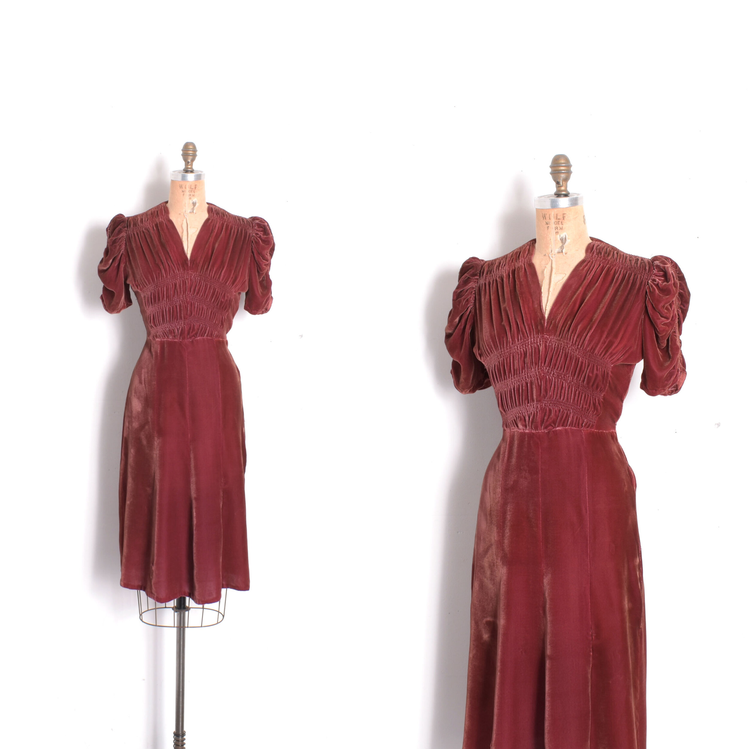 1930s Silk Velvet Puff Sleeve Dress Xs S La Poubelle Vintage