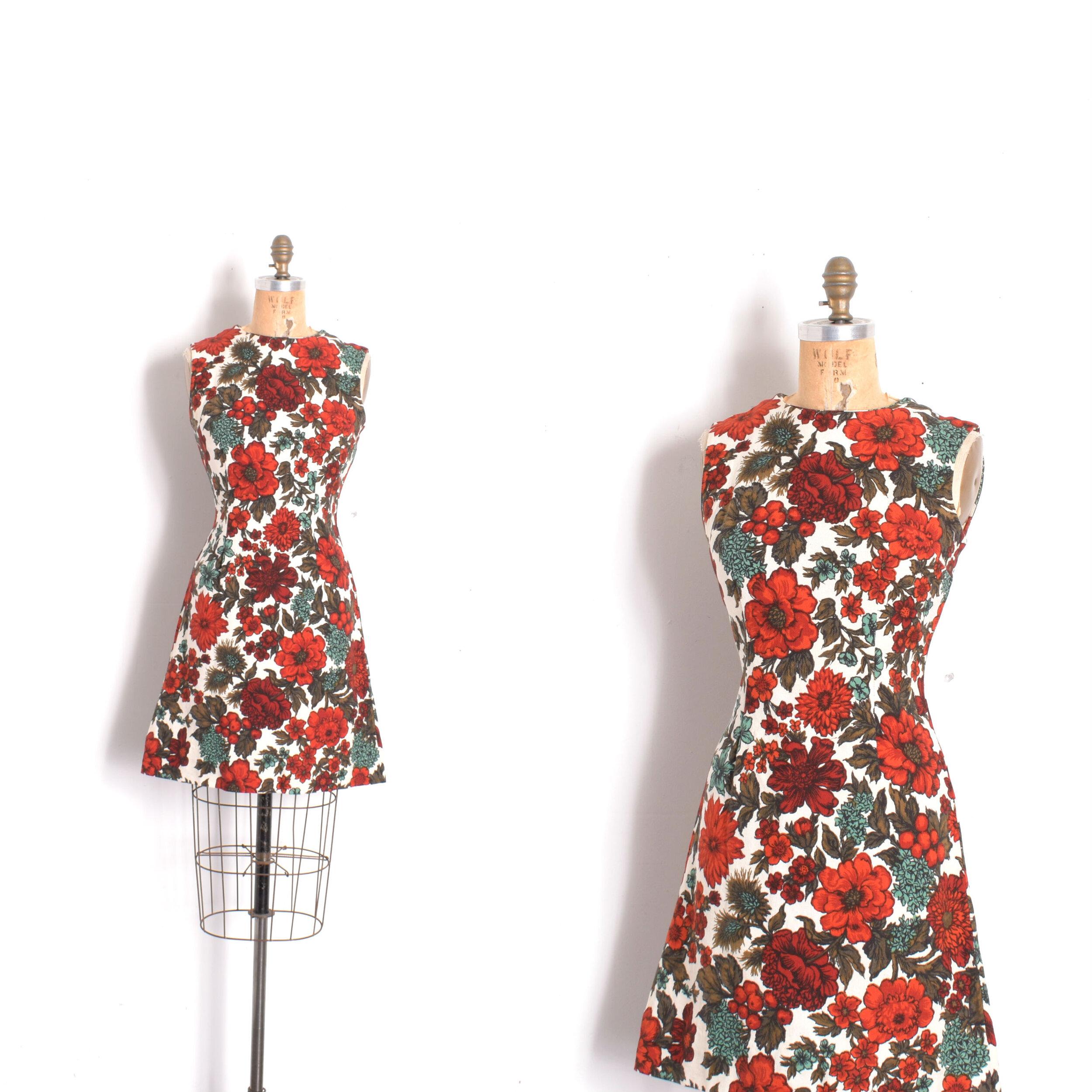 Vintage 1960s Print Mini Dress