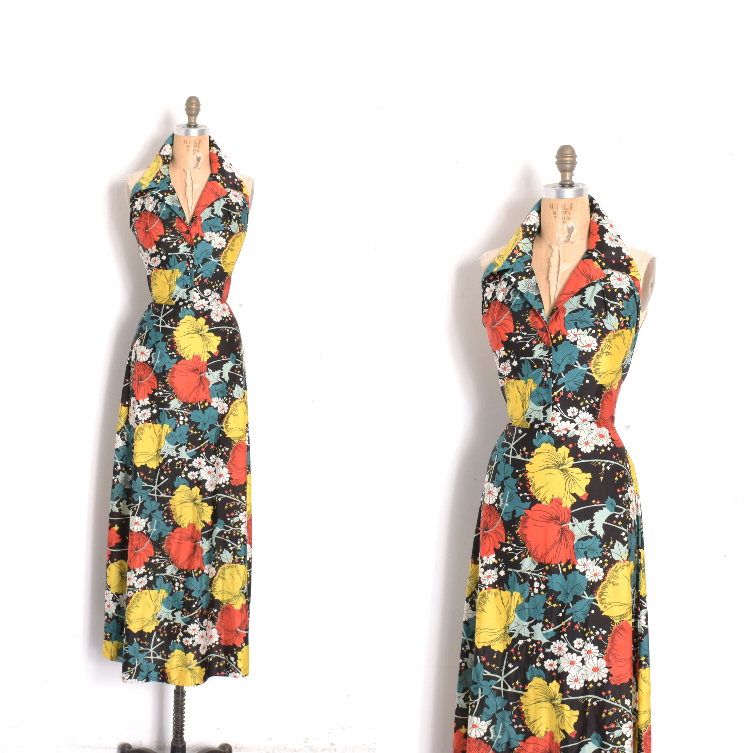 vintage 1970s halter floral red maxi dress with white and blue flowers