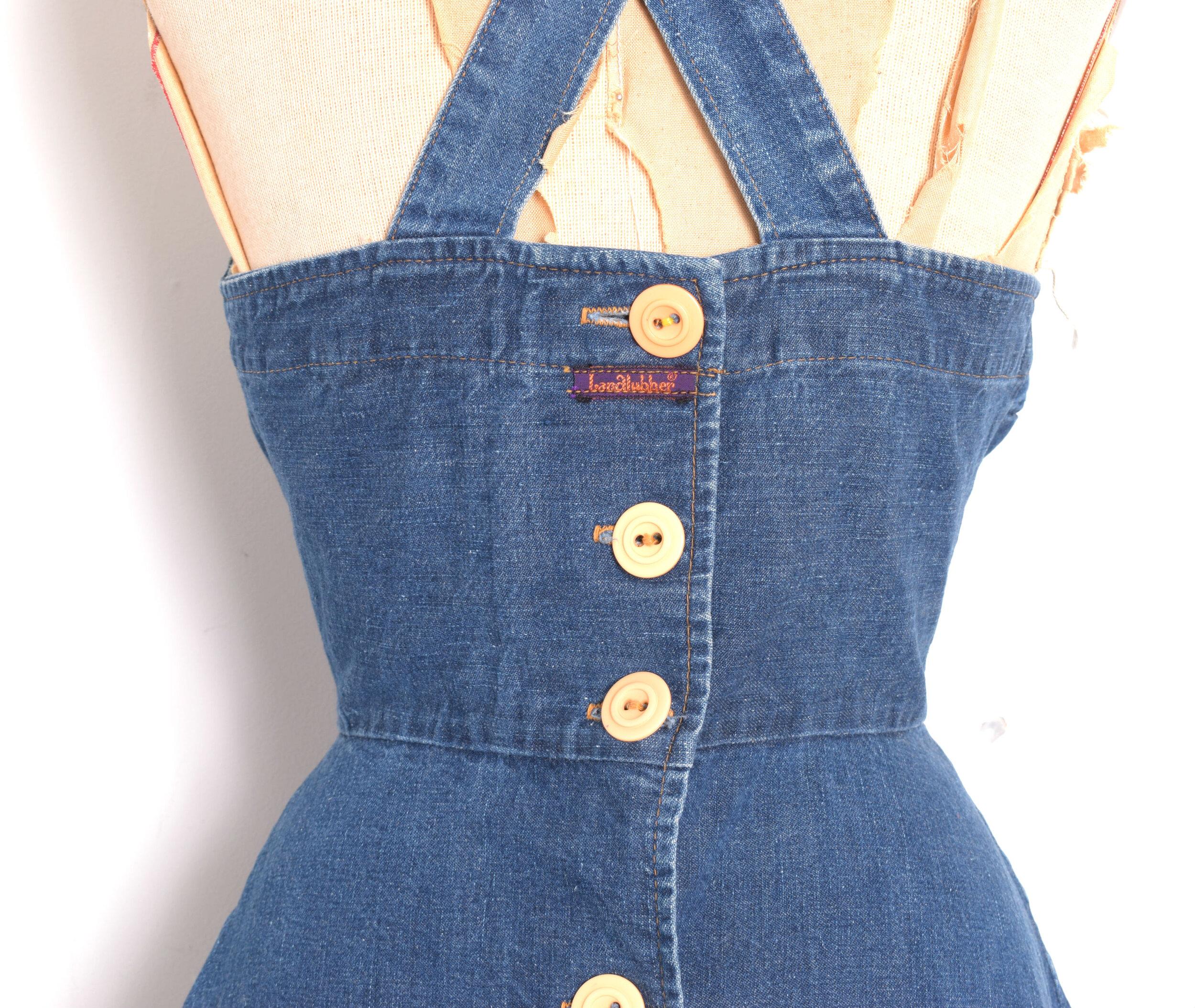 70s Landlubber Denim Jumper Dress w Ruffle Hem  Retro Jean Overalls Dress  Small 34 Bust