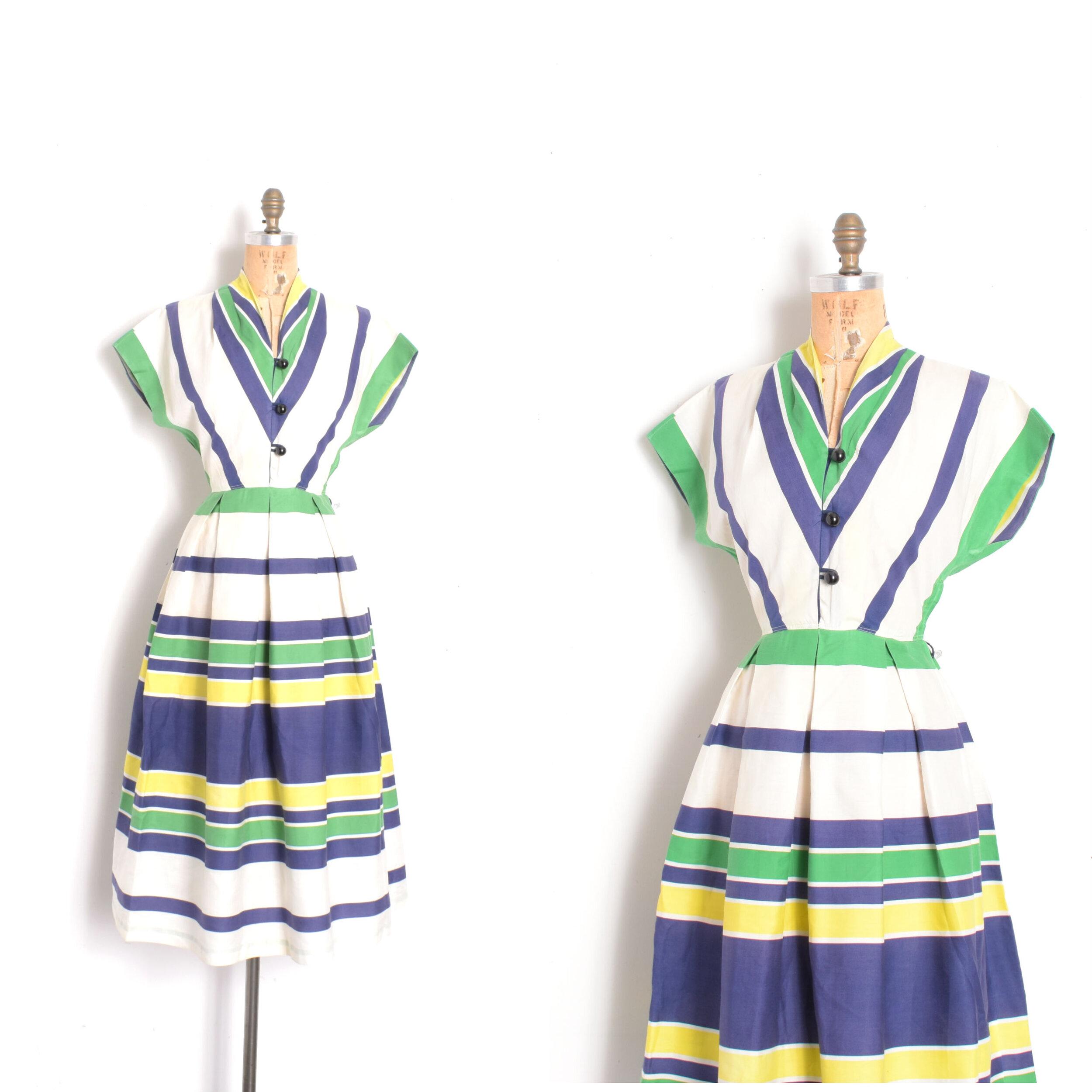 Green Black Striped 50s Cotton Dress Full Skirt Small Medium
