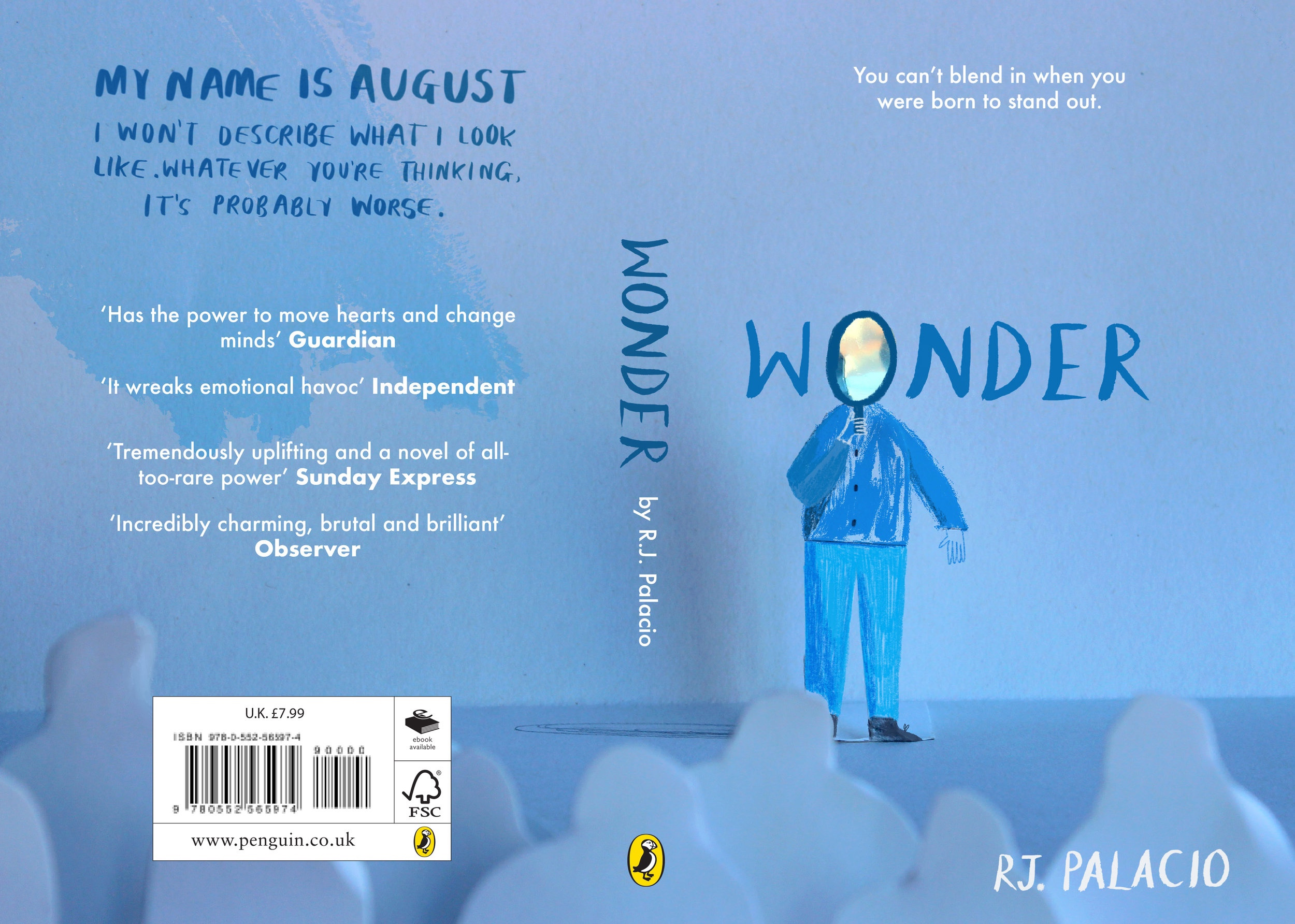 Redesigned book cover of Wonder by R.J.Palacio for the Penguin Student Design Awards 2019.
