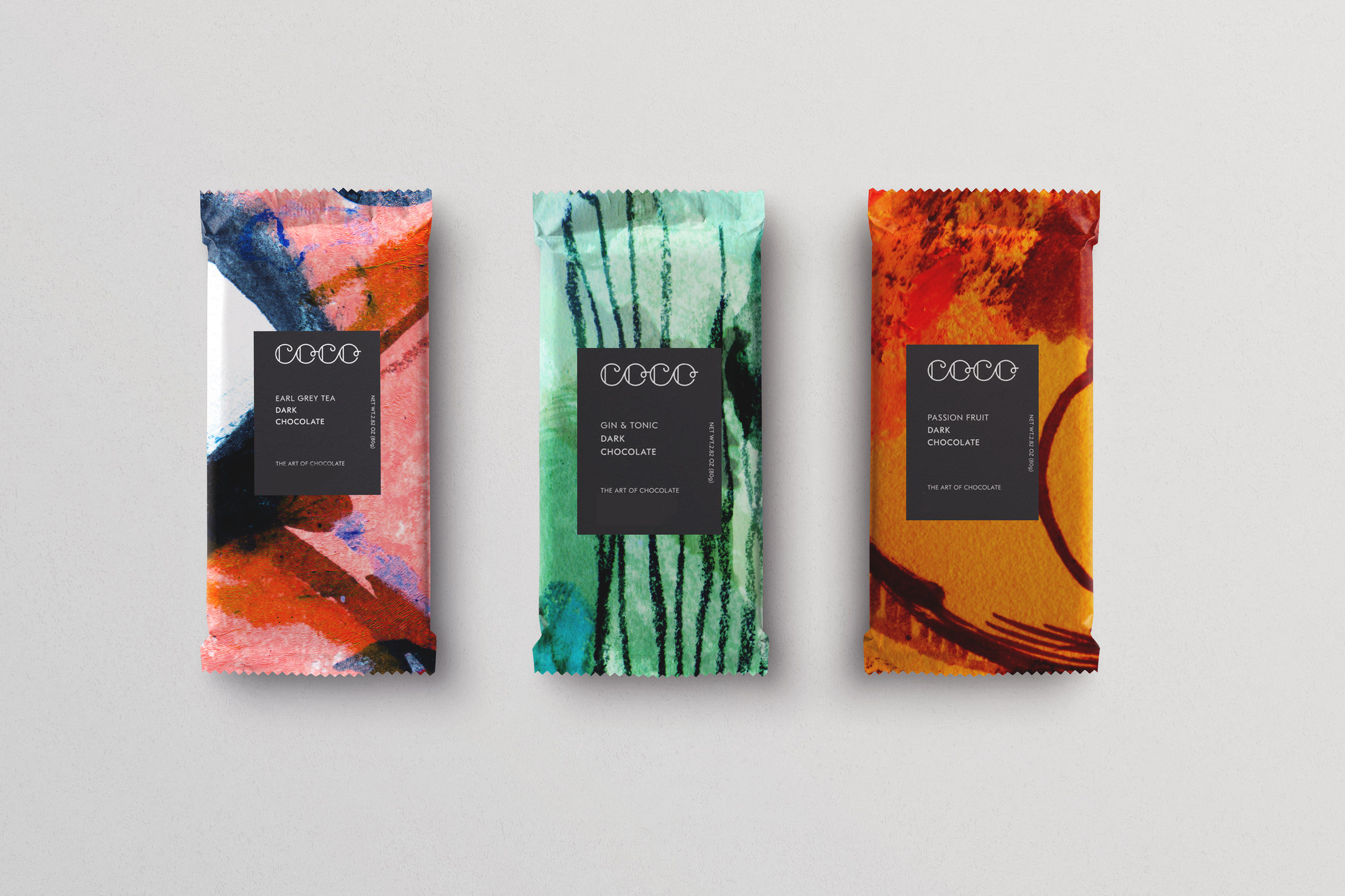 Speculative Packaging Design for COCO Chocolatier's Early Grey, Gin & Tonic and Passionfruit Chocolate Bars, 2019.
