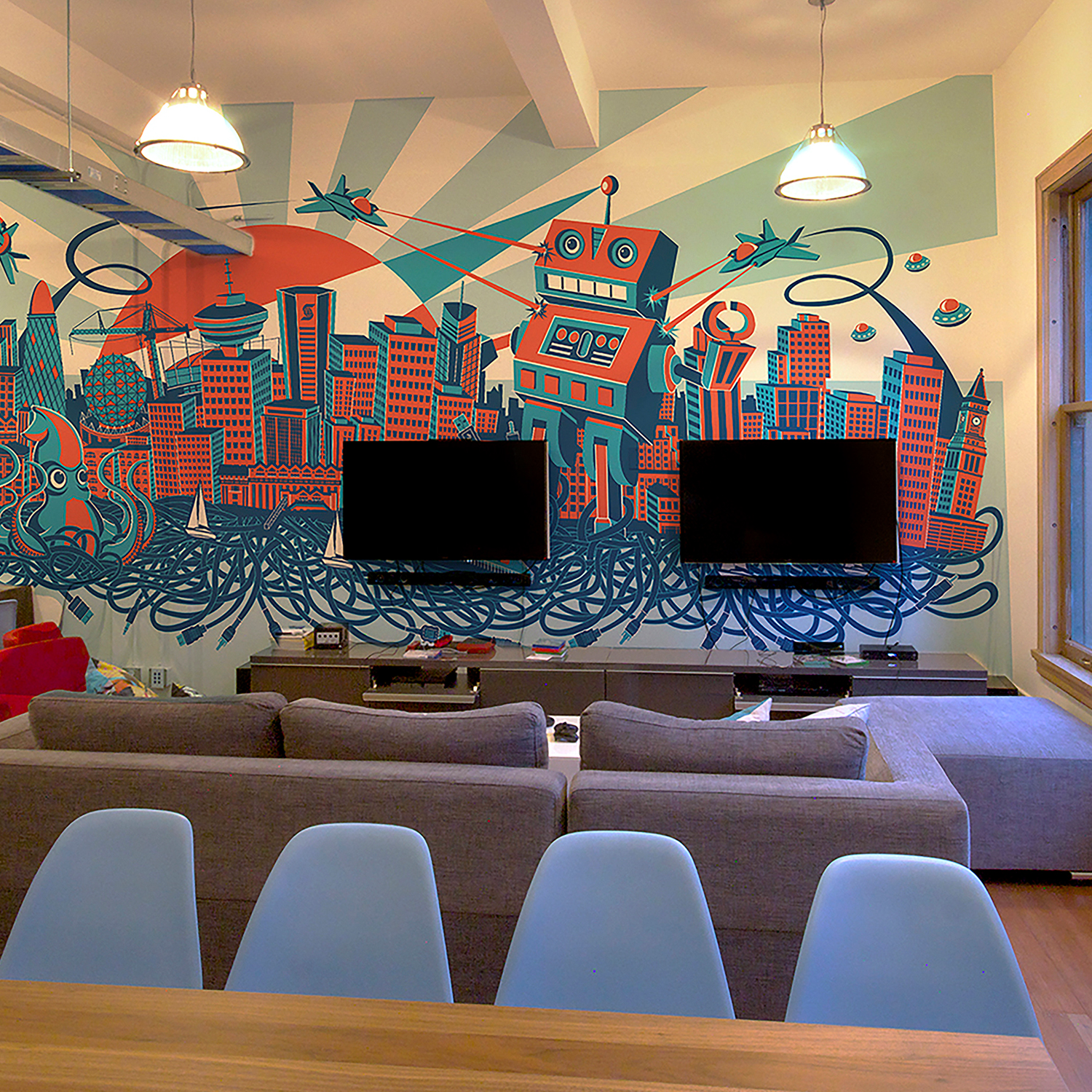 PNI Media: Technology Overload - MURAL + ILLUSTRATION