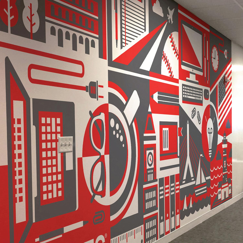 Staples HQ: Mural Concept - ILLUSTRATION + MURAL