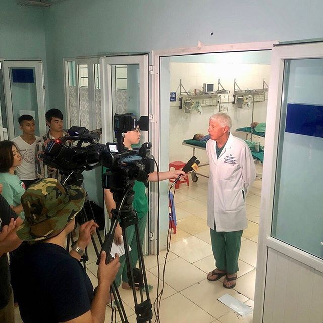 Dr. Tom Golden, VietCal board member, is interviewed by the local news team in Ha Giang. What an honor!  #vietcal #vietnam #socal #HaGiang #orthopedicsurgery #orthopedicsurgeons #medicalexchange #familymedicine
