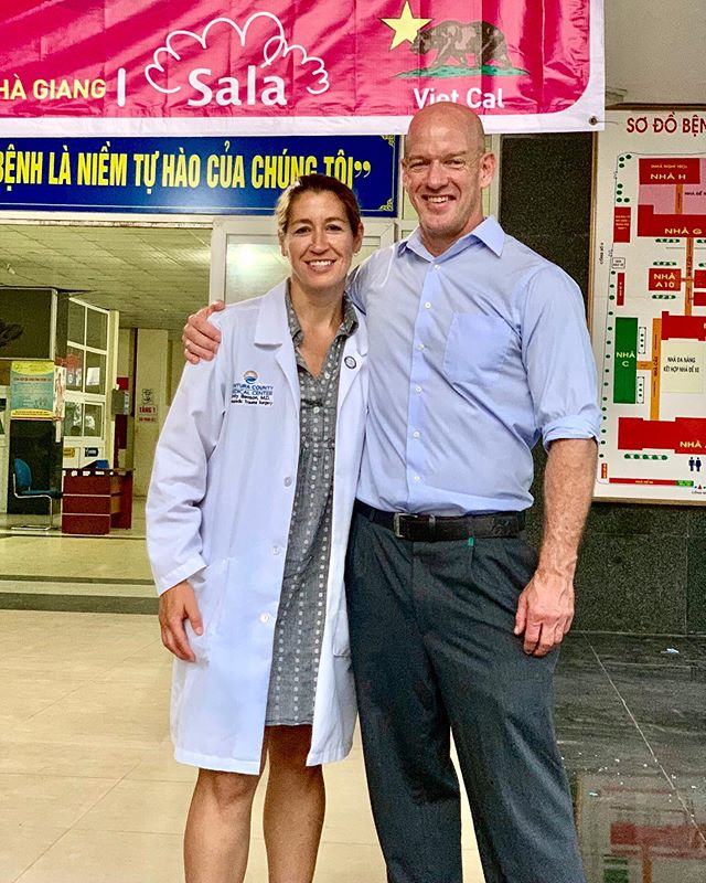 Drs Emily Benson and Serge Kaska, co-founders of VietCal Orthopedic Exchange, posing together for the fourth year in a row. How time flies!  #vietcal #vietnam #socal #orthopedicsurgery #orthopedicsurgeon #orthopedicsurgeons #orthotrauma #medicalexchange #familymedicine
