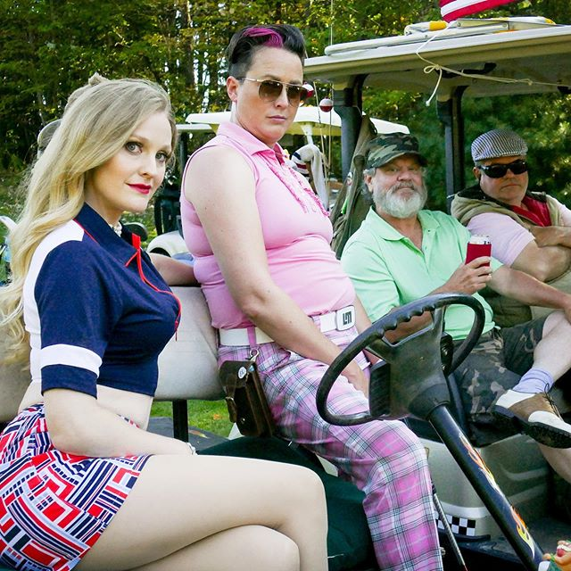 The #golf tournament competition ⛳️🏌🏻‍♀️ . . .  @breeannajudy and @angelashelton007 play partners aiming to beat Ji-min (played by @ajol_llama) in the ladies golf tournament on their 9 hole course... #eagleandthealbatross . . . .  We just finished some funny #golfradio bits for #postproduction - coming out this fall! Check our link in bio and be sure to go see our profile and the fancy 12 grid of the poster. 🦅