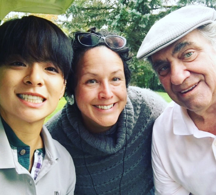 Our lead actress Amber Liu with director Angela Shelton and Dan Lauria.