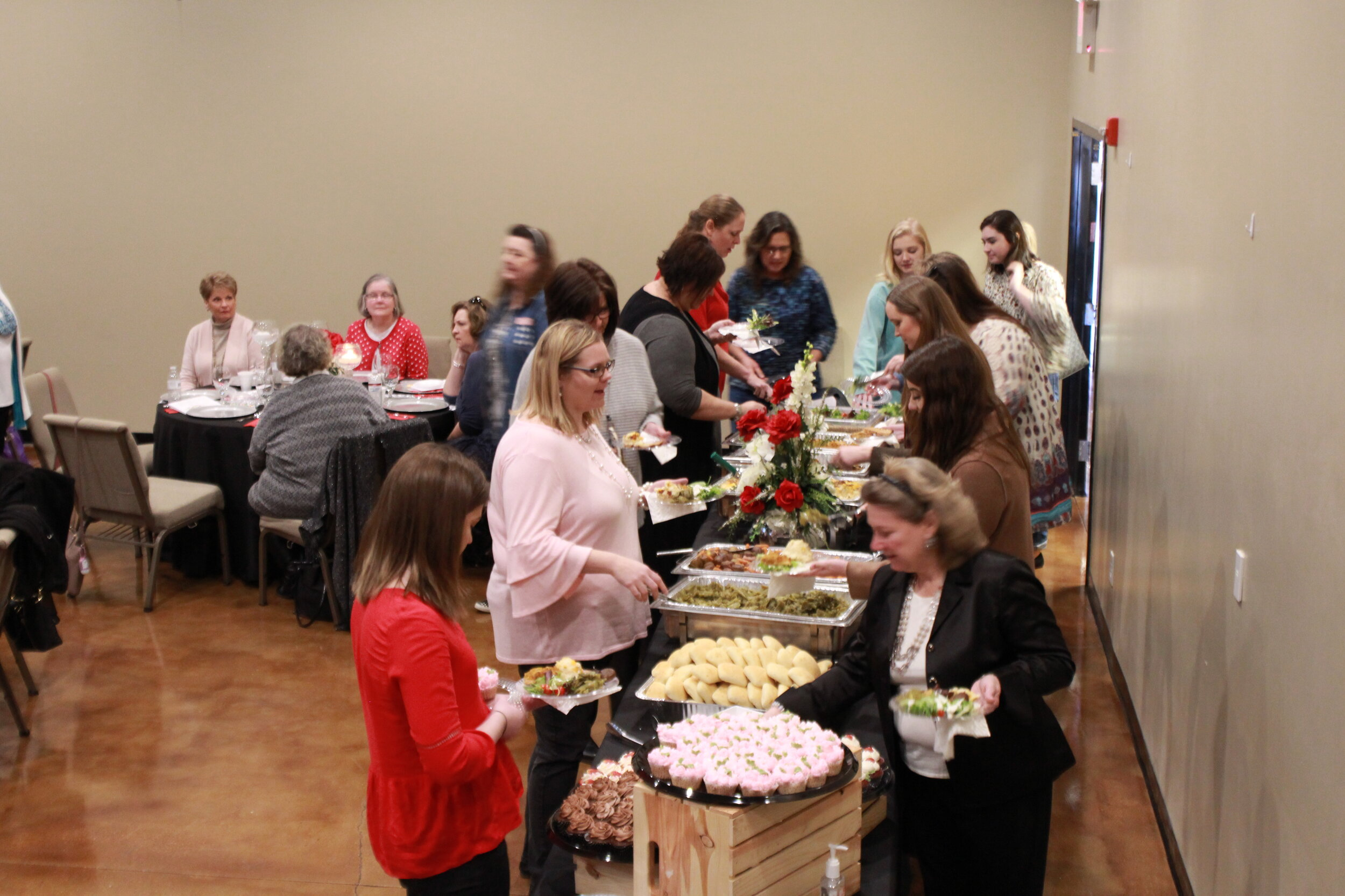"The ladies enjoyed a hot meal provided by ""Simply Gina Catering"""