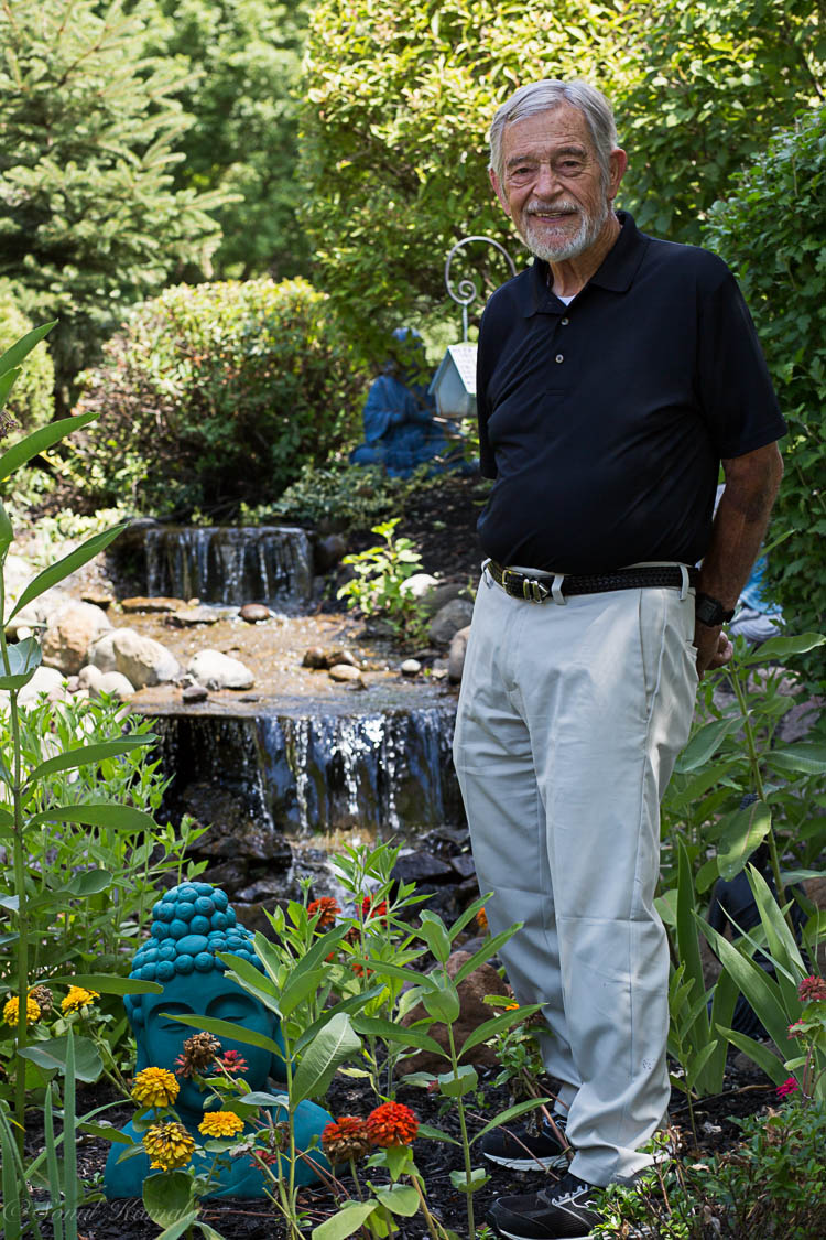 In his Buddha Garden which he tends to himself ! Happens to be one of his passions !!