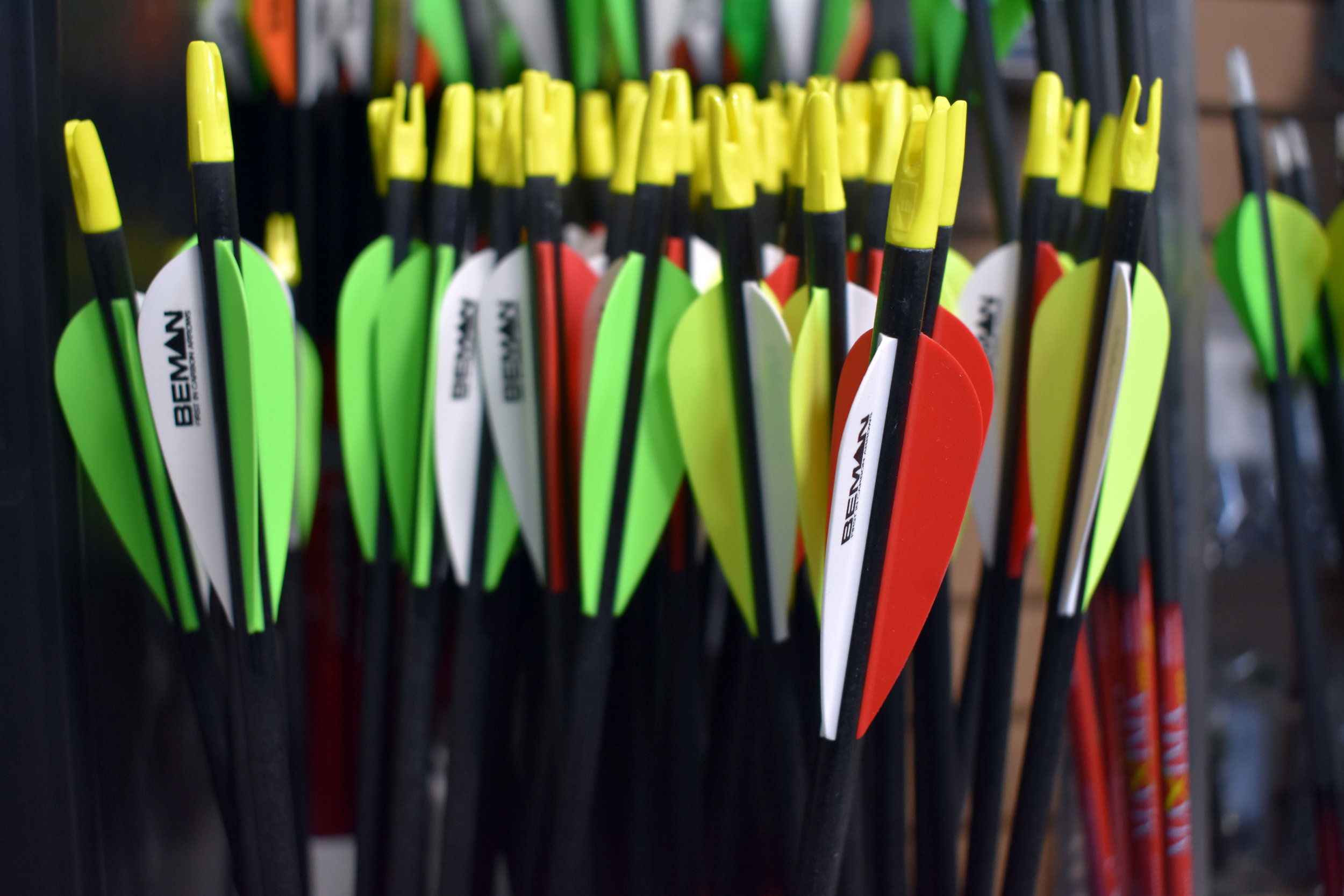 Arrows - We are an authorized dealer for Victory arrows. We also stock a selection of arrows by Easton, Beman, Gold Tip and Carbon Express. Our arrow selection caters to both the hunter and target archer.