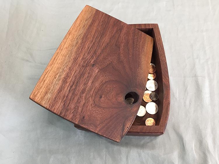 Bandsawn box, walnut.