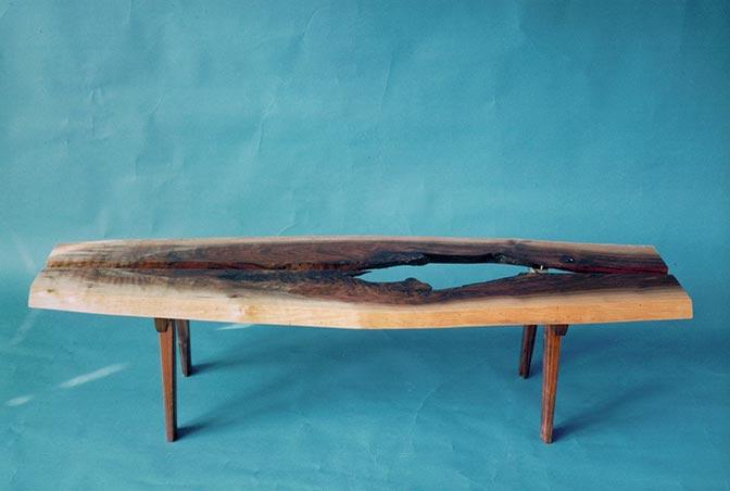 Coffee table, walnut & glass.