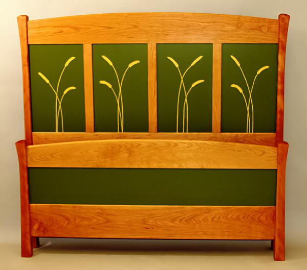 Bed frame with painted headboard, cherry.
