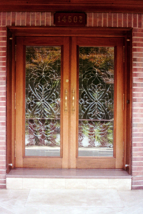 Entry doors, mahogany.