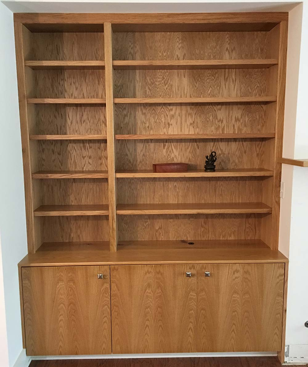 Bookcase units, oak.