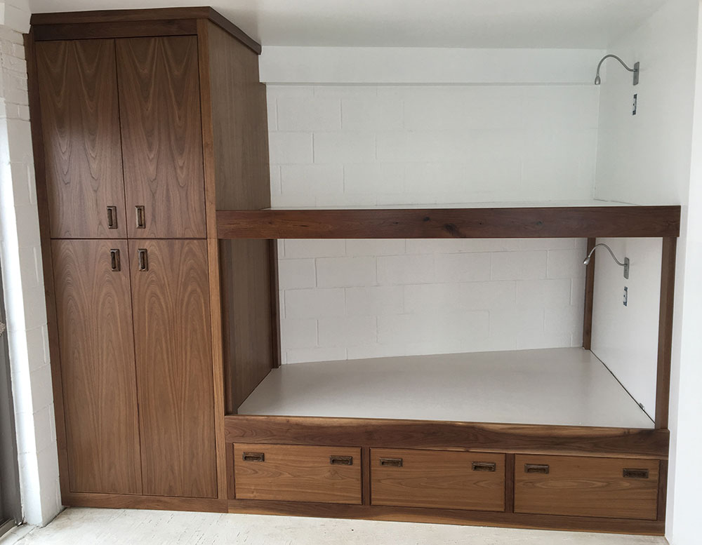 Bunk beds with closet, walnut.