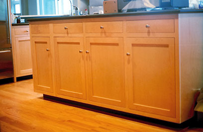 Kitchen cabinetry, maple.