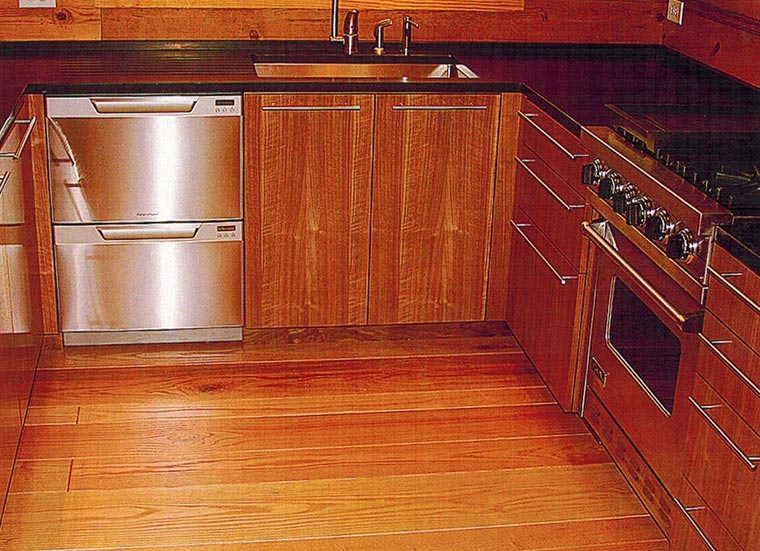 Kitchen cabinets, walnut.