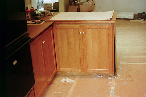 Kitchen cabinets, cherry.