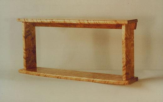 Wall-hung shelf unit, curly white oak.