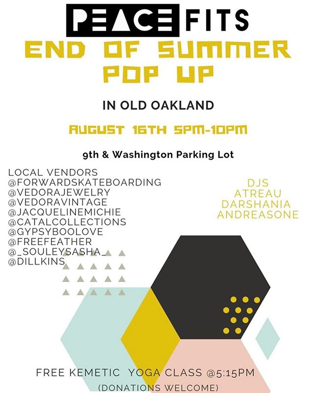 This evening behind @benchmarkoakland on the turf in the 8th & Washington lot! . . . . . #popup #shoplocal #keepitoakland #oaklandloveit #oldoakland #boldoakland #yoga #oakcentral #visitoakland
