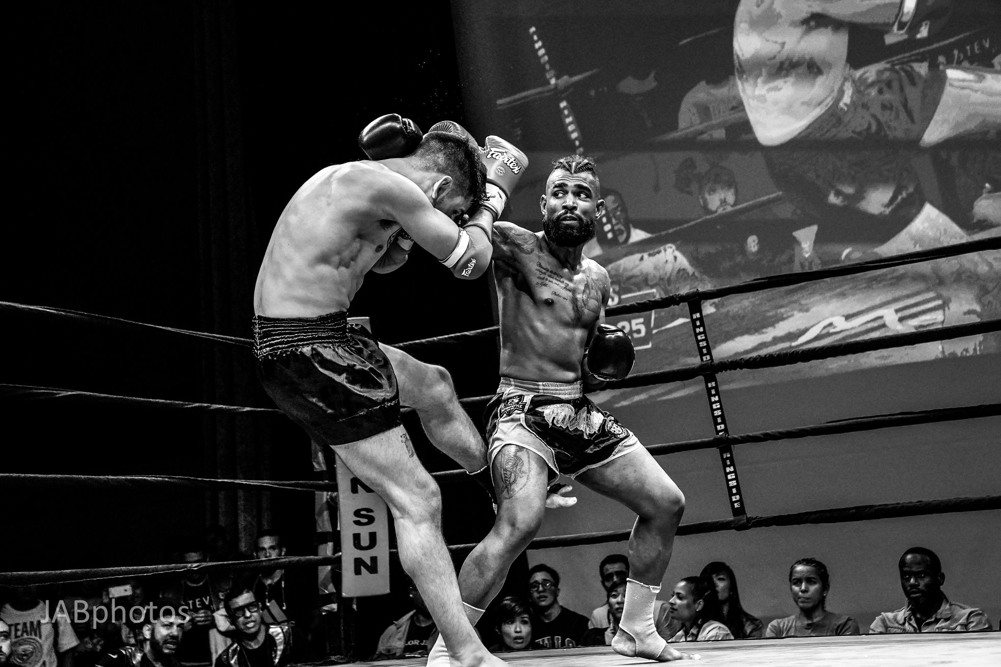 George slips a jab and lands a leg kick at a Friday Night Fights bout in New York City. George would go on to win by unanimous decision.