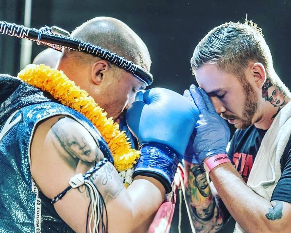 Joe performing a ceremonial prayer on former fighter and gym owner, Matt Coleman, prior to his fight.